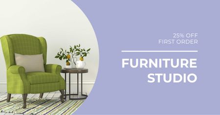 Furniture Studio Armchair in Cozy Room Facebook AD – шаблон для дизайна