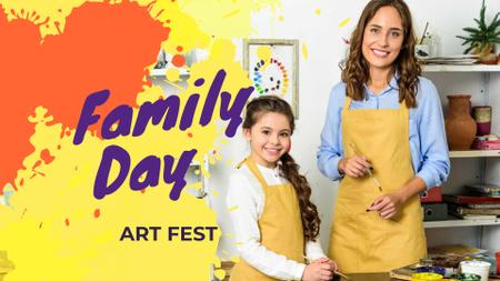 Plantilla de diseño de Family Day with Mother and Daughter in Art Studio FB event cover
