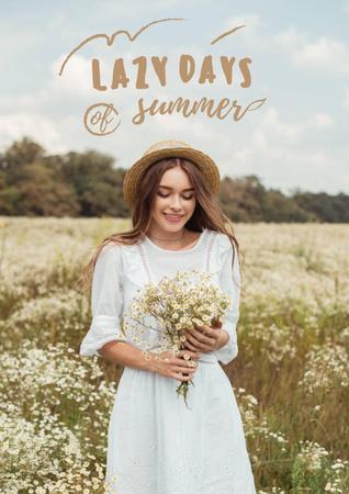 Modèle de visuel Summer Inspiration with Girl in Flower Field - Poster
