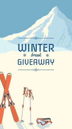 Ski resorts ad with Snowy Mountains Instagram Story Design Template