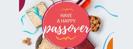 Passover Greeting with Traditional Food Facebook cover Modelo de Design