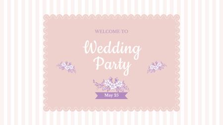 Wedding Party Invitation with Flowers Illustration FB event cover – шаблон для дизайну