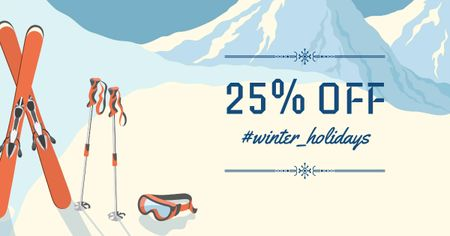 Winter offer with Snowy Mountains Facebook AD Design Template
