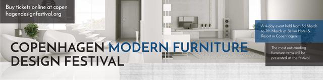 Ontwerpsjabloon van Twitter van Modern furniture design festival Announcement