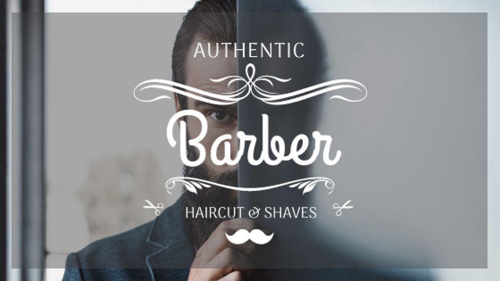 Barbershop Ad with Man with Beard and Mustache — Maak een ontwerp