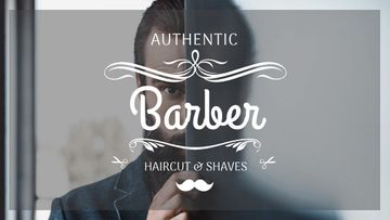 Barbershop Ad with Man with Beard and Mustache