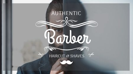Plantilla de diseño de Barbershop Ad with Man with Beard and Mustache Title