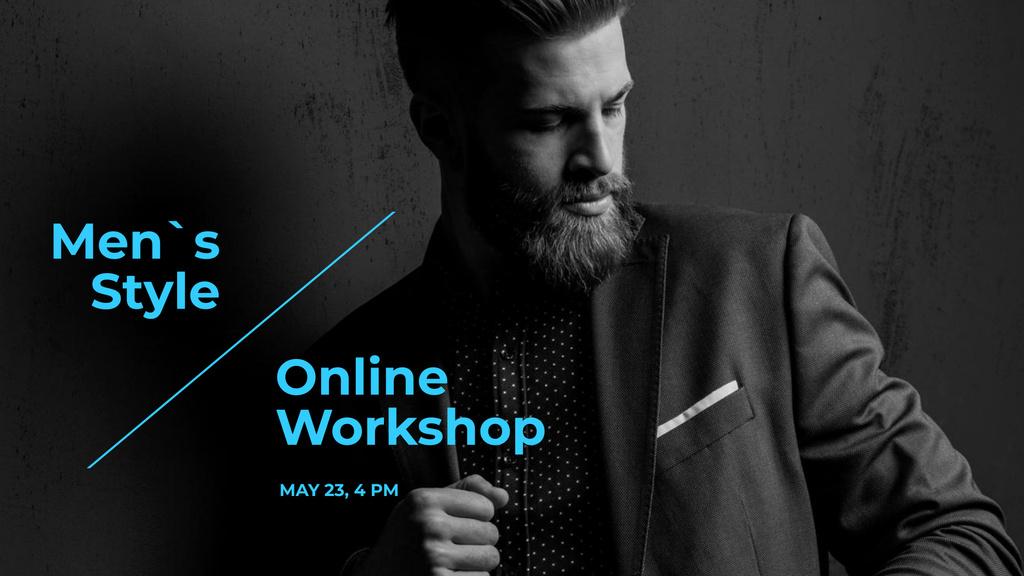 Modèle de visuel Fashion Online Workshop Ad with Man in Stylish Suit - FB event cover