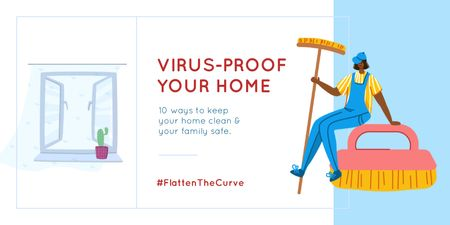 Szablon projektu #FlattenTheCurve Tips to keep Home clean during Quarantine Twitter
