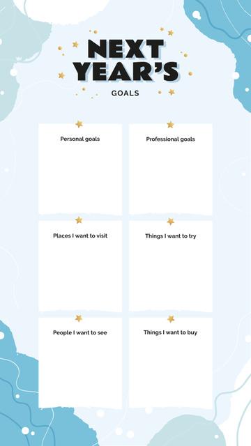 Next Year's Goals with golden Stars Instagram Story – шаблон для дизайну
