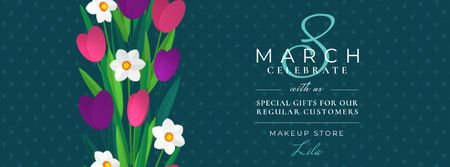 Spring tulips and narcissus for 8 March Facebook Video cover Modelo de Design