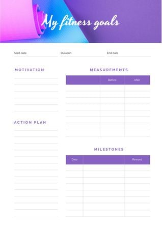 Plantilla de diseño de Fitness Goals on yoga mat Schedule Planner