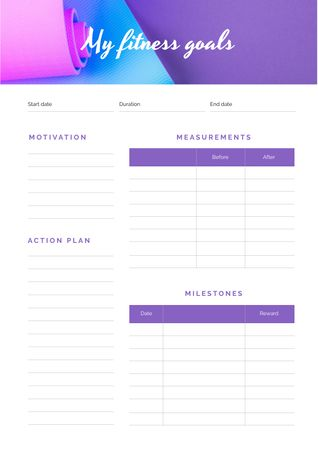 Fitness Goals on yoga mat Schedule Planner Design Template