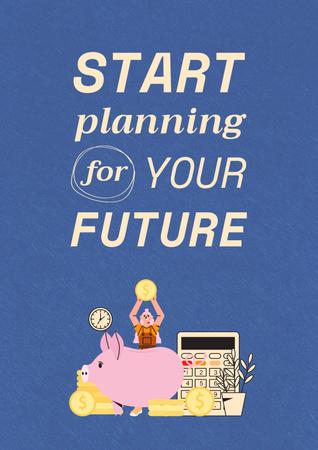 Plantilla de diseño de Saving Money with Piggy Bank Poster
