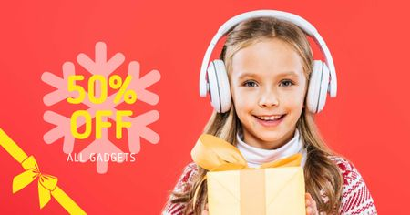 Gadgets Sale with Girl in Headphones holding Gift Facebook AD Modelo de Design