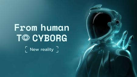 Designvorlage Virtual Reality Ad with Modern Cyborg für Youtube Thumbnail