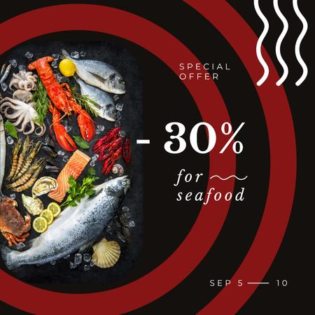 Restaurant Offer Assorted Fish and Seafood Instagram AD Tasarım Şablonu