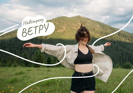 Young Girl in Mountains VK Universal Post Modelo de Design