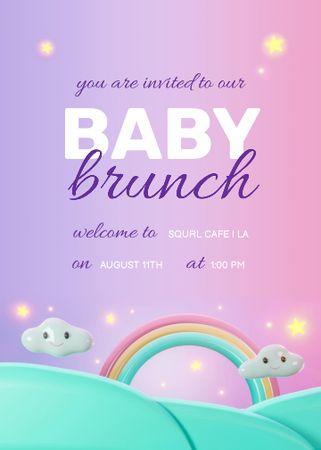 Template di design Baby Brunch Announcement with Cute Rainbow Invitation