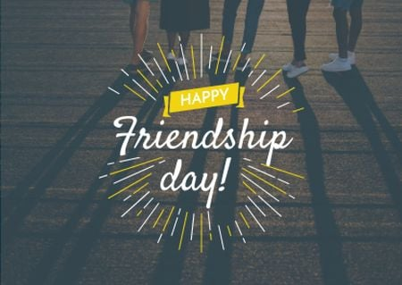 Friendship Day Greeting Young People Together Card Design Template