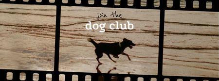 Plantilla de diseño de Happy Dog running on Beach Facebook cover