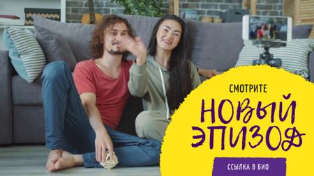 Video Blog Promotion Couple Waving on Sofa Full HD video – шаблон для дизайна
