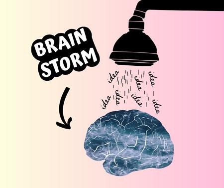 Funny Joke with Brain Illustration Facebook Design Template