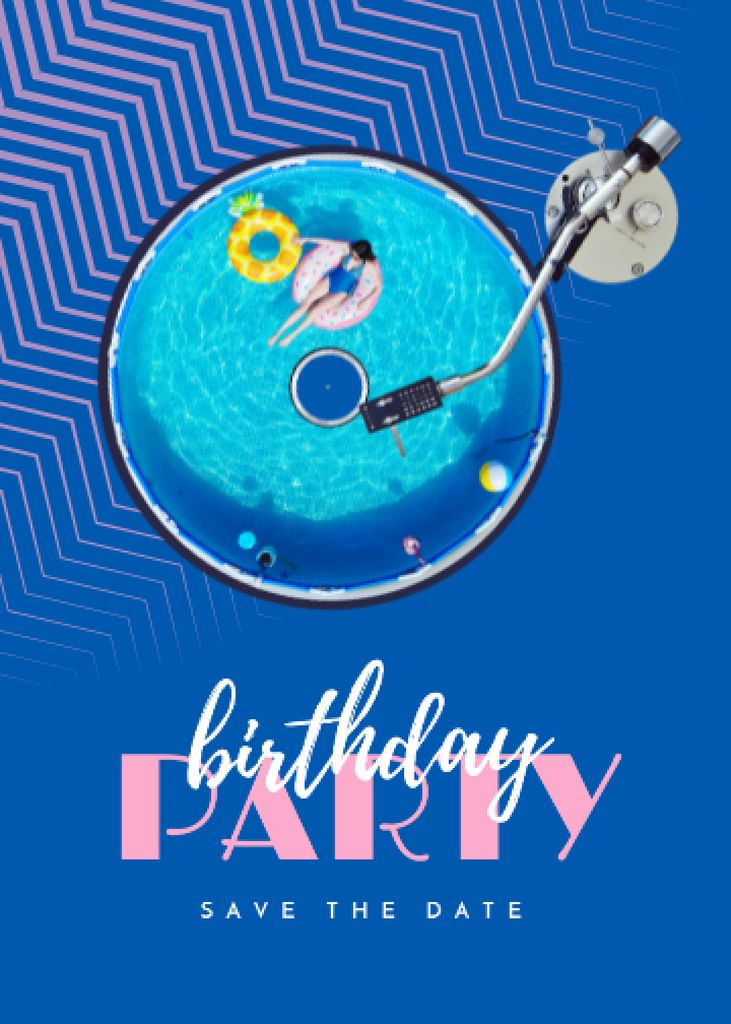 Designvorlage Birthday Party Announcement with Inflatable Rings in Pool für Invitation