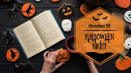 Halloween night Announcement with Books and Pumpkins FB event cover Modelo de Design