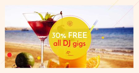 DJ Gigs Discount Offer with Cocktail on Beach Facebook AD Modelo de Design