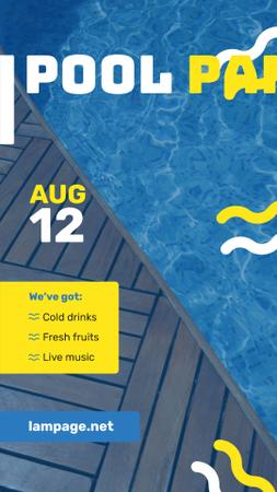 Szablon projektu Pool Party Invitation Blue Water and Deck Instagram Story