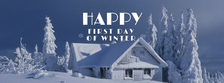 First Winter Day Greeting with Snowy House Facebook cover Modelo de Design
