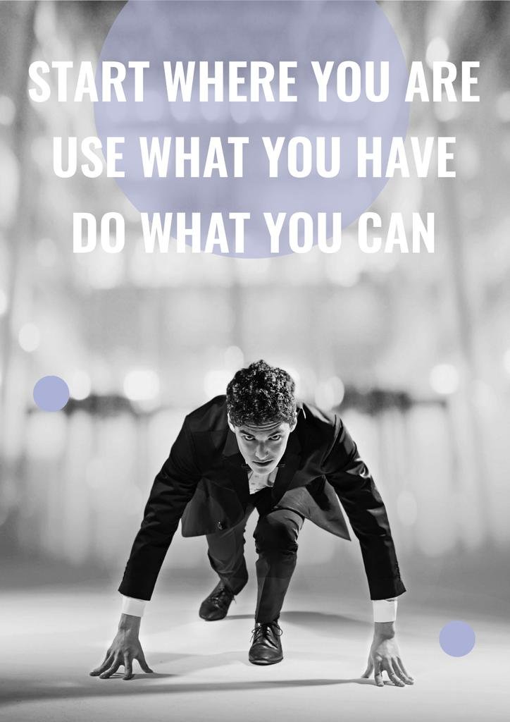 Motivation Quote Businessman on Race Start — Создать дизайн