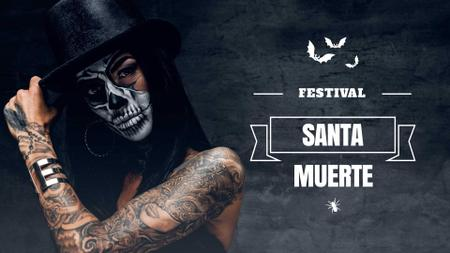 Plantilla de diseño de Santa Muerte Festival Announcement with Girl in Scary Makeup FB event cover