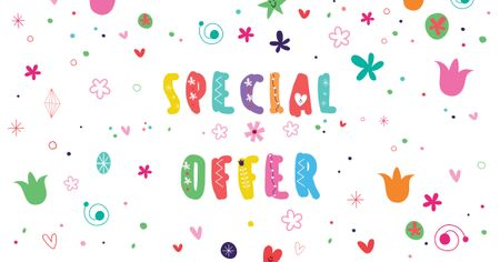 Ontwerpsjabloon van Facebook AD van Holiday Special Offer on Bright pattern
