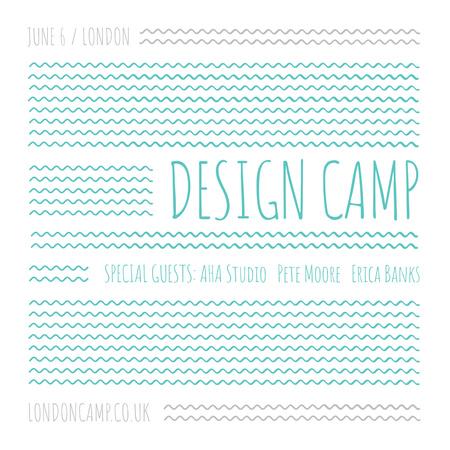 Modèle de visuel Design camp announcement on Blue waves - Instagram AD