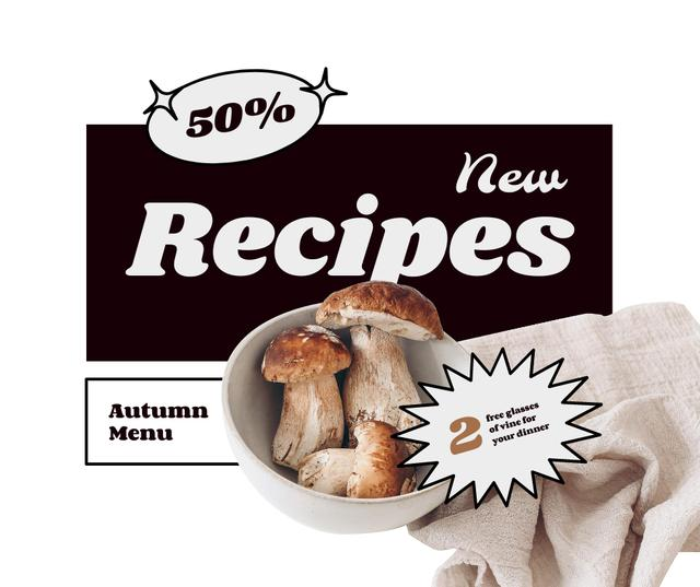 New Autumn Menu Announcement with Fresh Mushrooms Facebook – шаблон для дизайна