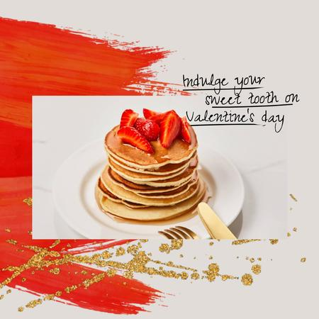 Template di design Valentine's Day Offer with Pancakes and Strawberries Animated Post