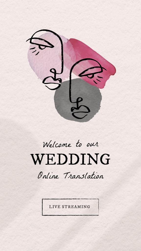 Plantilla de diseño de Wedding Online Translation Announcement with Newlyweds Illustration Instagram Story
