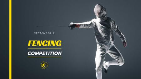 Fencing Competition Announcement with Fencer FB event cover Design Template
