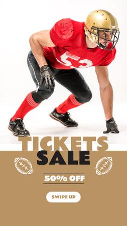 Template di design Tickets Sale Offer with American Football Player Instagram Story