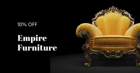 Plantilla de diseño de Antique Furniture Auction Luxury Yellow Armchair Facebook AD