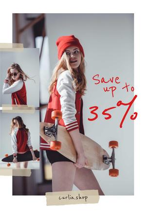 Stylish Young Girl with skateboard Pinterest Modelo de Design