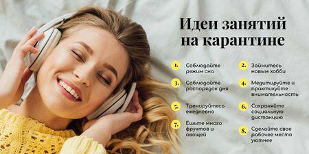 Selfcare Ideas for Quarantine with Woman listening music Twitter – шаблон для дизайна