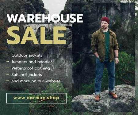 Plantilla de diseño de Outdoor Clothes Ad handsome Man on Cliff Facebook