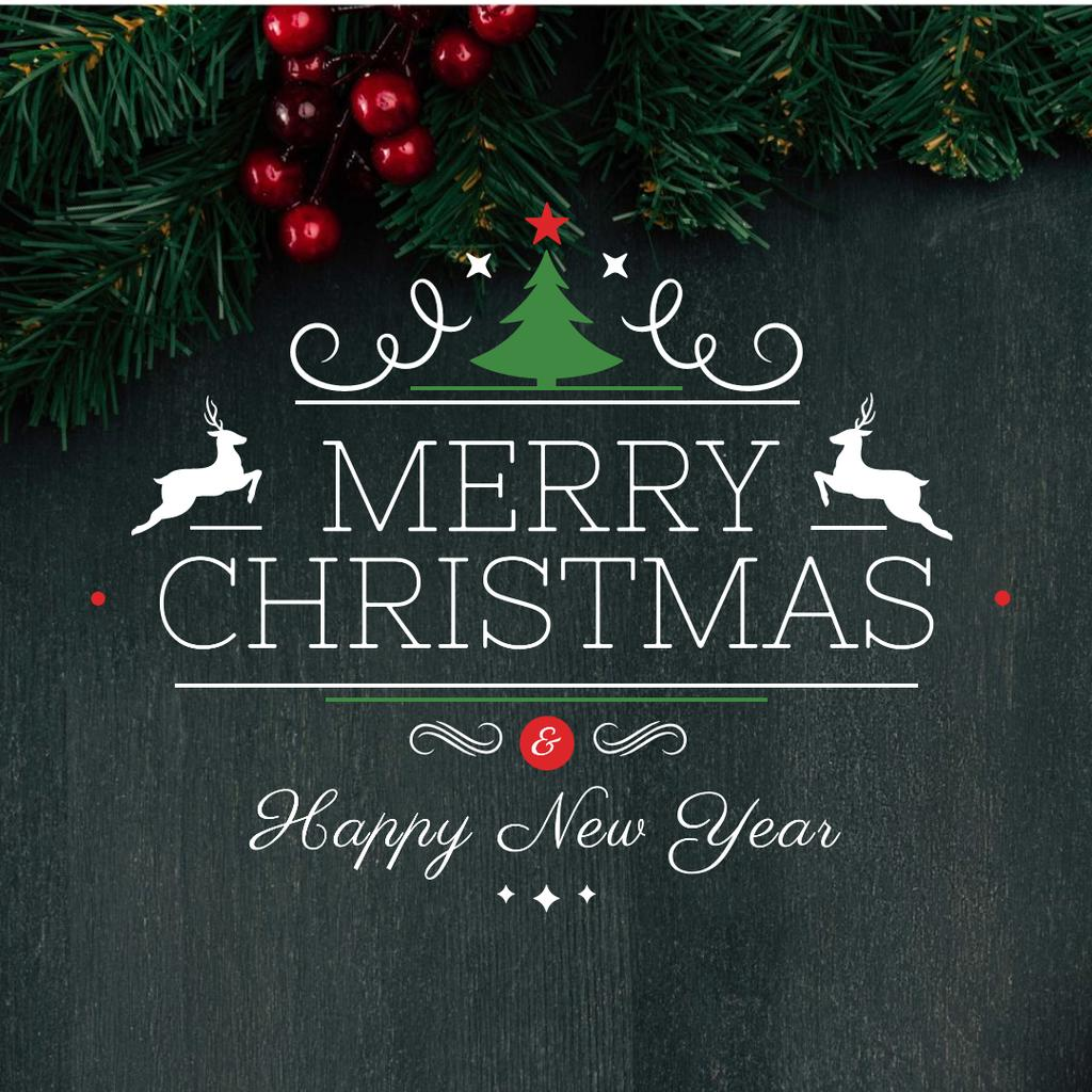 Merry Christmas Greeting with Christmas Tree branches — Crear un diseño