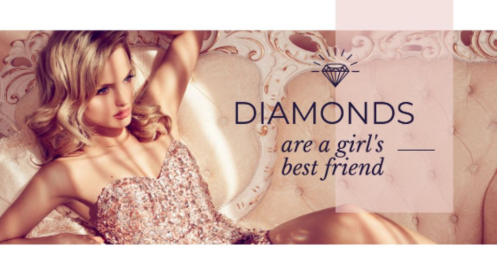 Szablon projektu Jewelry Ad with Woman in shiny dress Title
