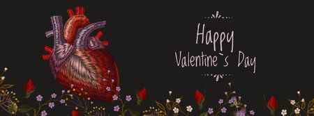 Valentine's Day Heart in Flowers Facebook Video cover Modelo de Design