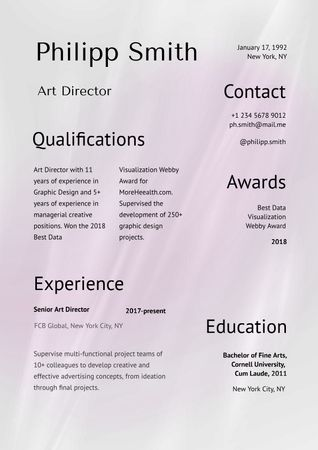 Art Director skills and experience Resume – шаблон для дизайну