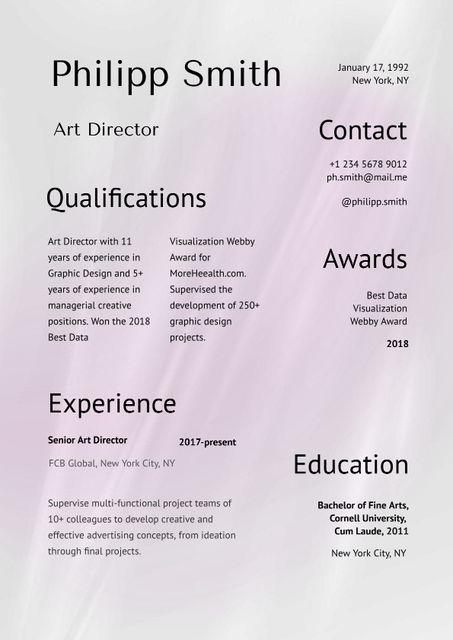 Art Director skills and experience Resume Modelo de Design